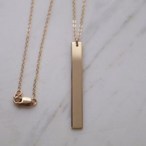 Jewelry - 14k Gold Filled Vertical Blank Bar Necklace